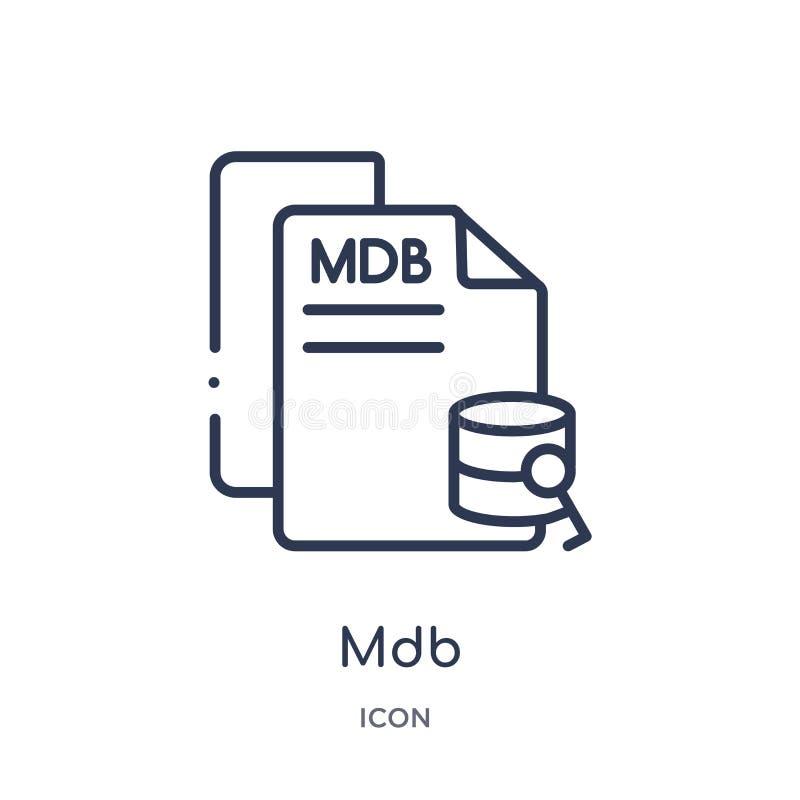 Icono linear del mdb de la colección del esquema del tipo de archivo Línea fina vector del mdb aislado en el fondo blanco ejemplo libre illustration