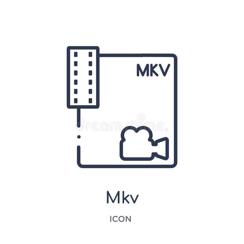 Icono linear del mkv de la colección del esquema del tipo de archivo Línea fina vector del mkv aislado en el fondo blanco ejemplo stock de ilustración