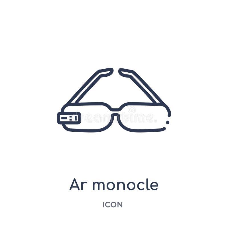 Icono linear del monóculo de AR del intellegence artificial y de la colección futura del esquema de la tecnología La línea fina v ilustración del vector