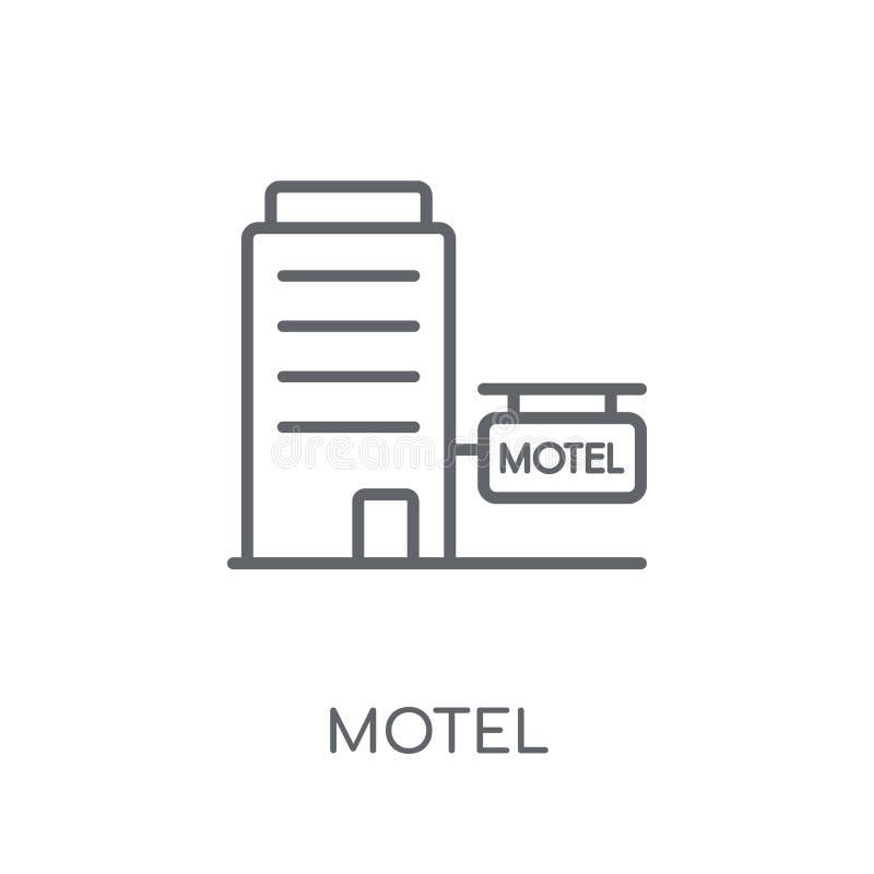 Icono linear del motel Concepto moderno del logotipo del motel del esquema en los vagos blancos ilustración del vector