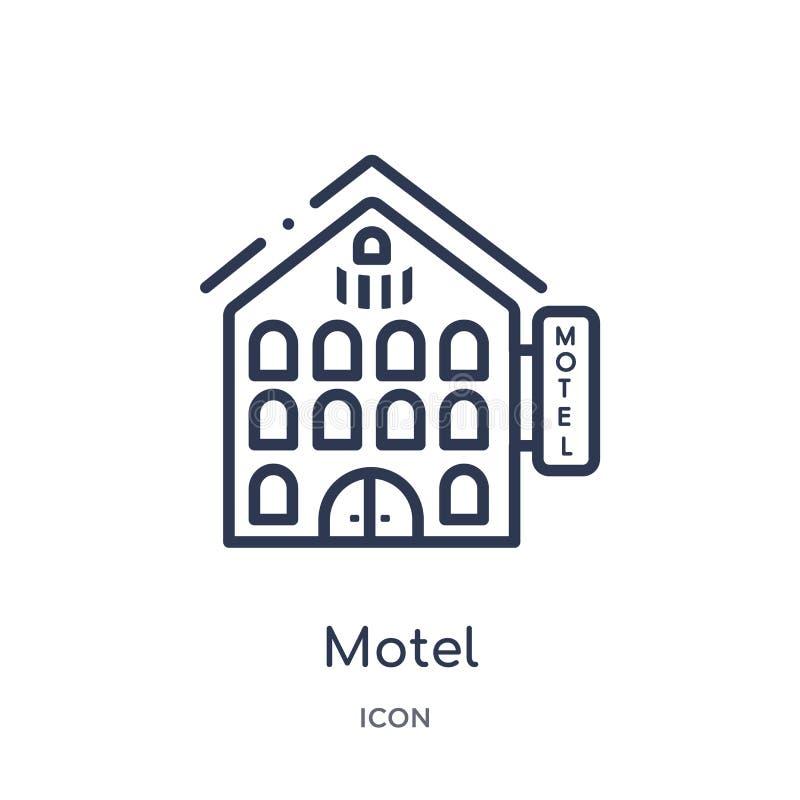 Icono linear del motel de la colección del esquema de los elementos de la ciudad Línea fina vector del motel aislado en el fondo  stock de ilustración