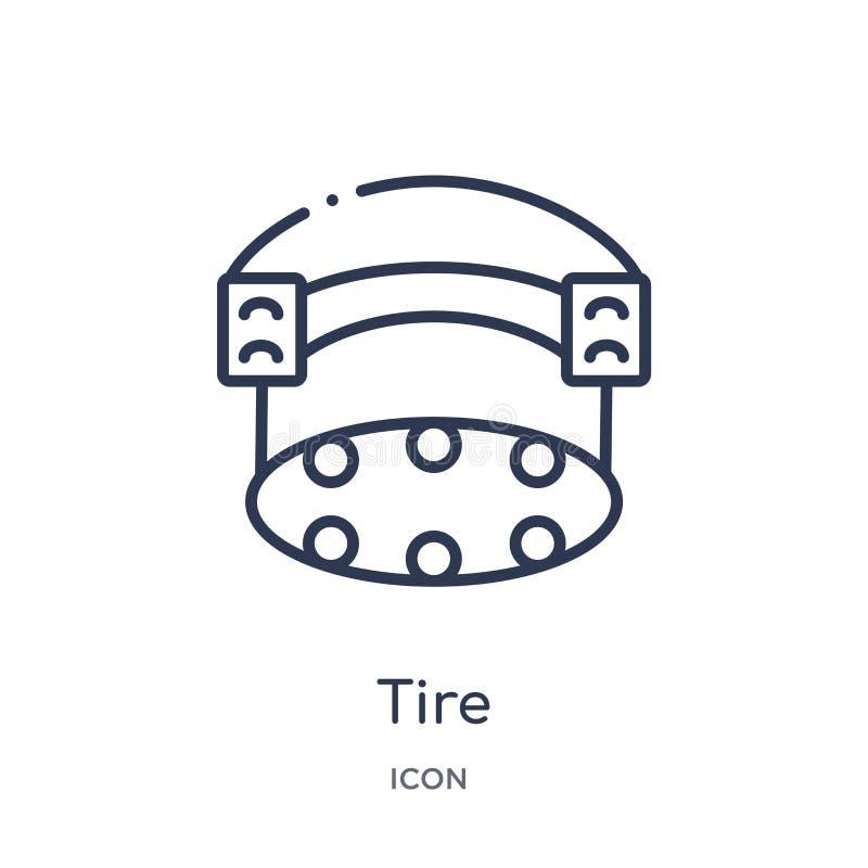 Icono linear del neumático de la colección del esquema del equipo del gimnasio Línea fina icono del neumático aislado en el fondo ilustración del vector