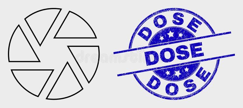 Icono linear del obturador del vector y filigrana rasguñada de la dosis libre illustration