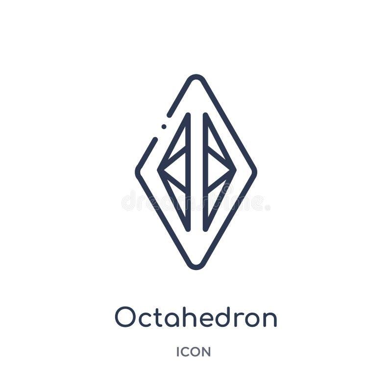 Icono linear del octaedro de la colección del esquema de la geometría Línea fina icono del octaedro aislado en el fondo blanco oc stock de ilustración