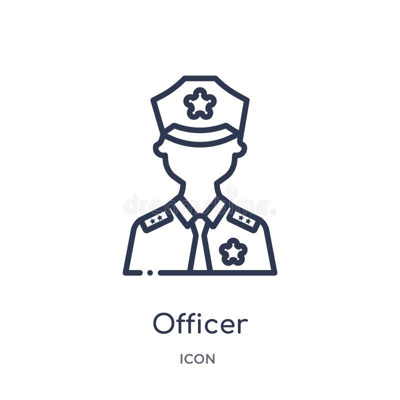 Icono linear del oficial de la colección del esquema del ejército y de la guerra Línea fina vector del oficial aislado en el fond stock de ilustración