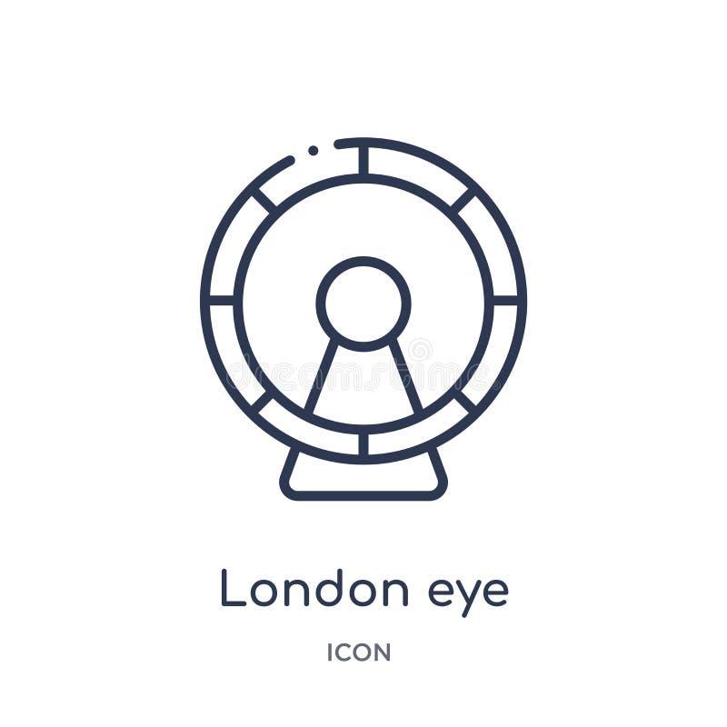 Icono linear del ojo de Londres de la colección del esquema de los edificios Línea fina vector del ojo de Londres aislado en el f ilustración del vector