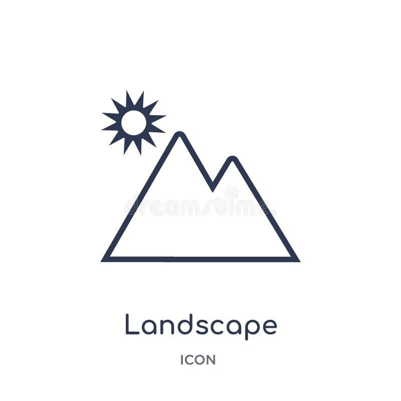 Icono linear del paisaje de la colección electrónica del esquema del terraplén de la materia Línea fina vector del paisaje aislad libre illustration