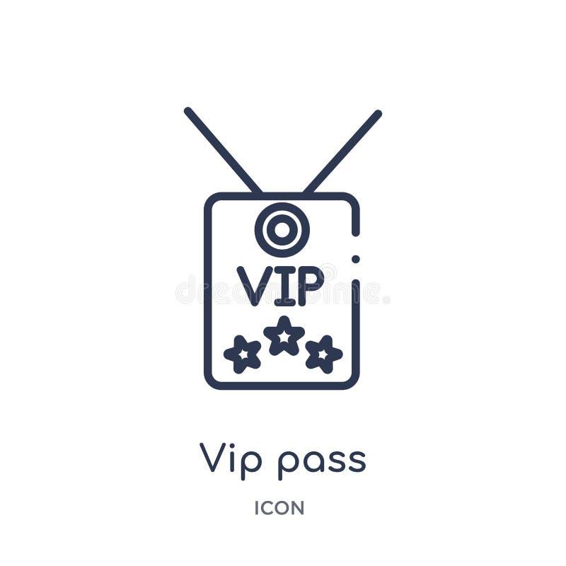 Icono linear del paso del vip de la colección de lujo del esquema Línea fina icono del paso del vip aislado en el fondo blanco pa stock de ilustración