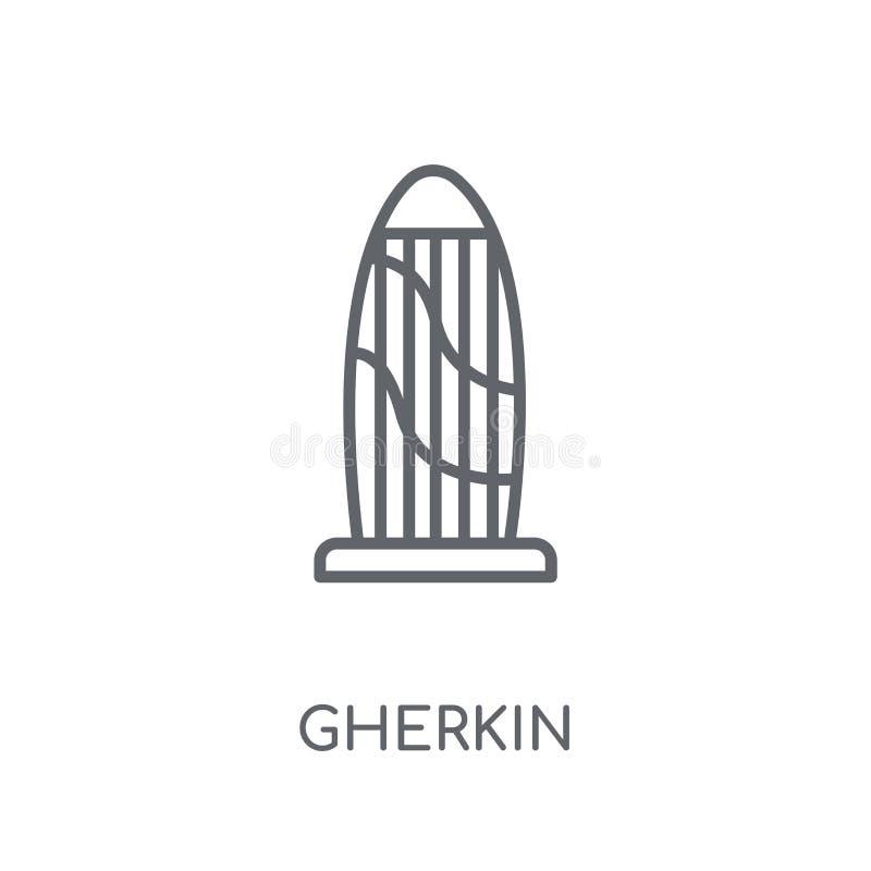 Icono linear del pepinillo Concepto moderno del logotipo del pepinillo del esquema en pizca stock de ilustración