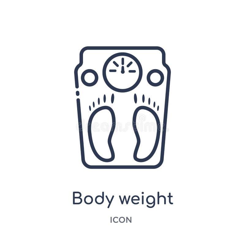 Icono linear del peso corporal de la colección diversa del esquema Línea fina icono del peso corporal aislado en el fondo blanco  libre illustration