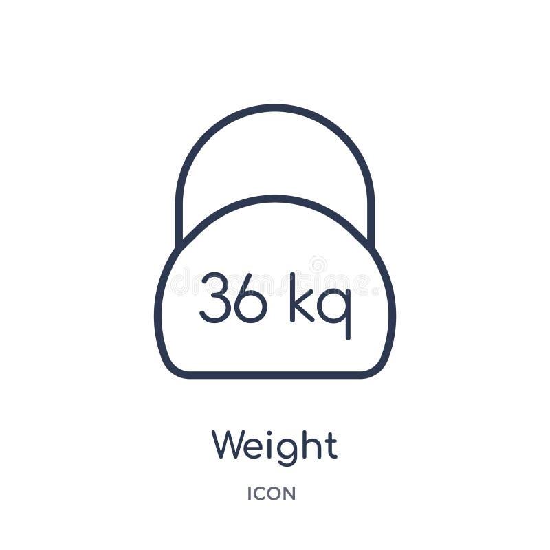 Icono linear del peso de la entrega y de la colección logística del esquema Línea fina vector del peso aislado en el fondo blanco stock de ilustración