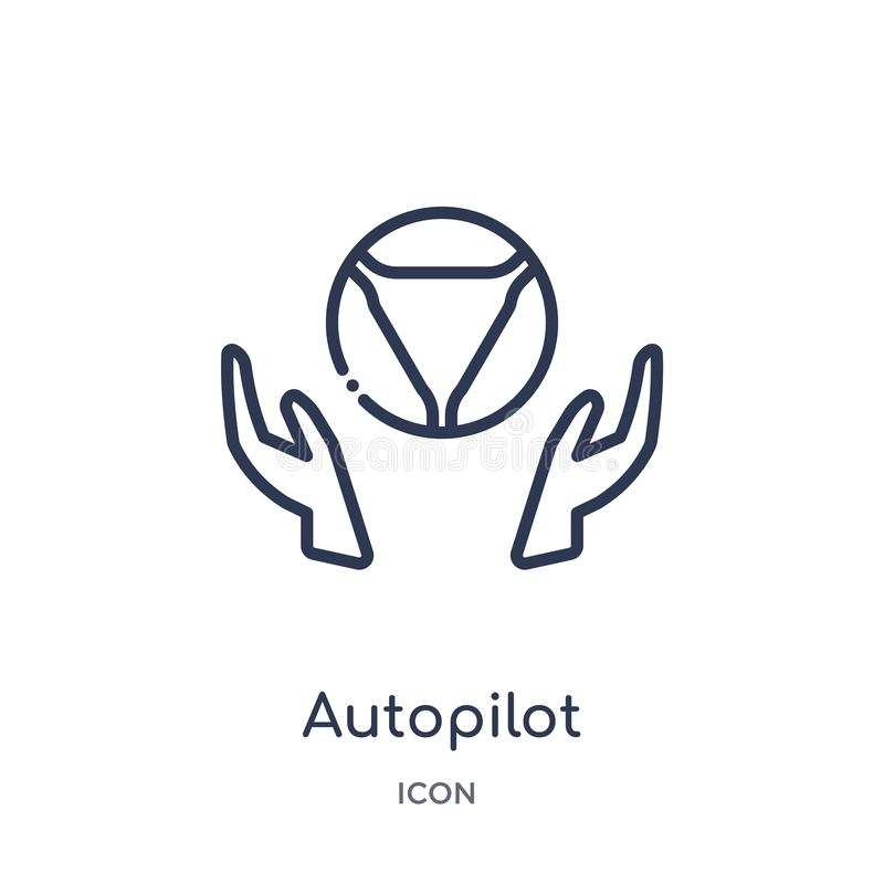 Icono linear del piloto automático de la colección del esquema general Línea fina icono del piloto automático aislado en el fondo stock de ilustración