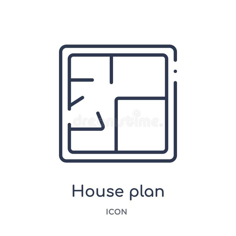 Icono linear del plan de la casa de la colección del esquema de la construcción Línea fina vector del plan de la casa aislado en  ilustración del vector
