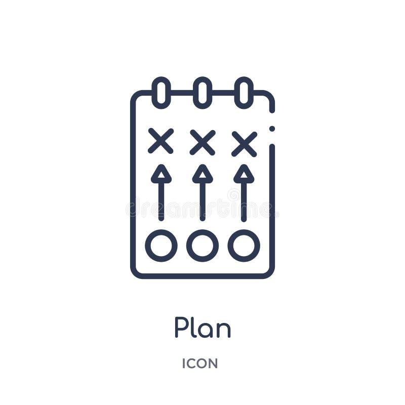 Icono linear del plan de la colección del esquema del fútbol Línea fina vector del plan aislado en el fondo blanco ejemplo de mod libre illustration