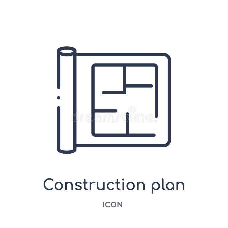 Icono linear del plan de la construcción de la colección del esquema de la construcción Línea fina vector del plan de la construc stock de ilustración