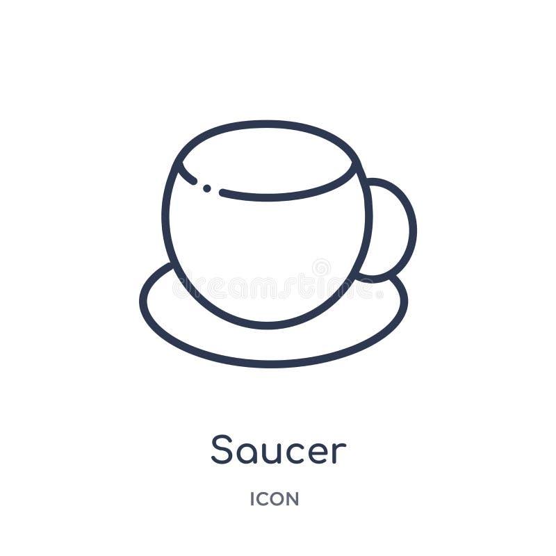 Icono linear del platillo de la colección del esquema de la cocina Línea fina icono del platillo aislado en el fondo blanco ejemp ilustración del vector