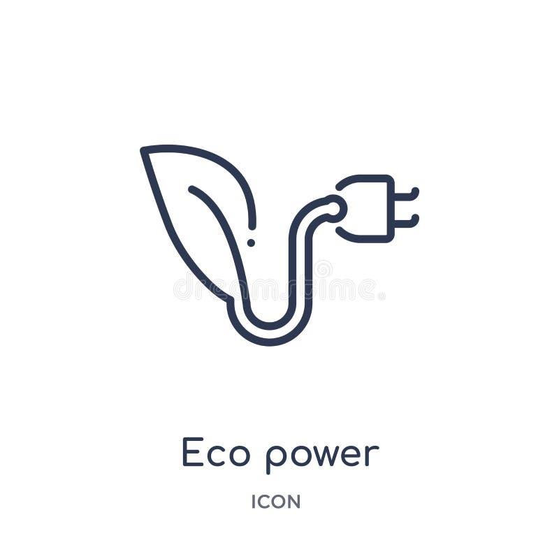 Icono linear del poder del eco de la colección del esquema de la ecología Línea fina vector del poder del eco aislado en el fondo stock de ilustración