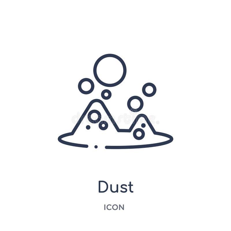 Icono linear del polvo de la colección mágica del esquema Línea fina icono del polvo aislado en el fondo blanco ejemplo de moda d stock de ilustración