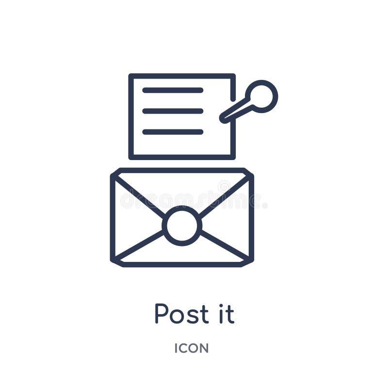 Icono linear del post-it de la colección del esquema del negocio Línea fina icono del post-it aislado en el fondo blanco post-it  ilustración del vector