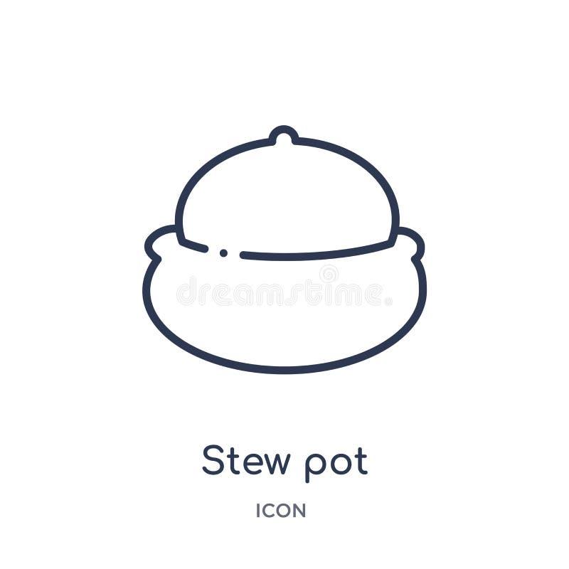 Icono linear del pote de guisado de la colección del esquema de la cocina Línea fina icono del pote de guisado aislado en el fond stock de ilustración