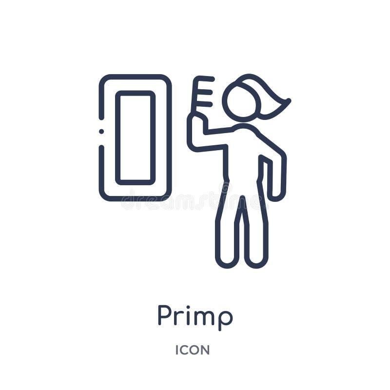 Icono linear del primp de la colección del esquema de la higiene Línea fina icono del primp aislado en el fondo blanco ejemplo de stock de ilustración