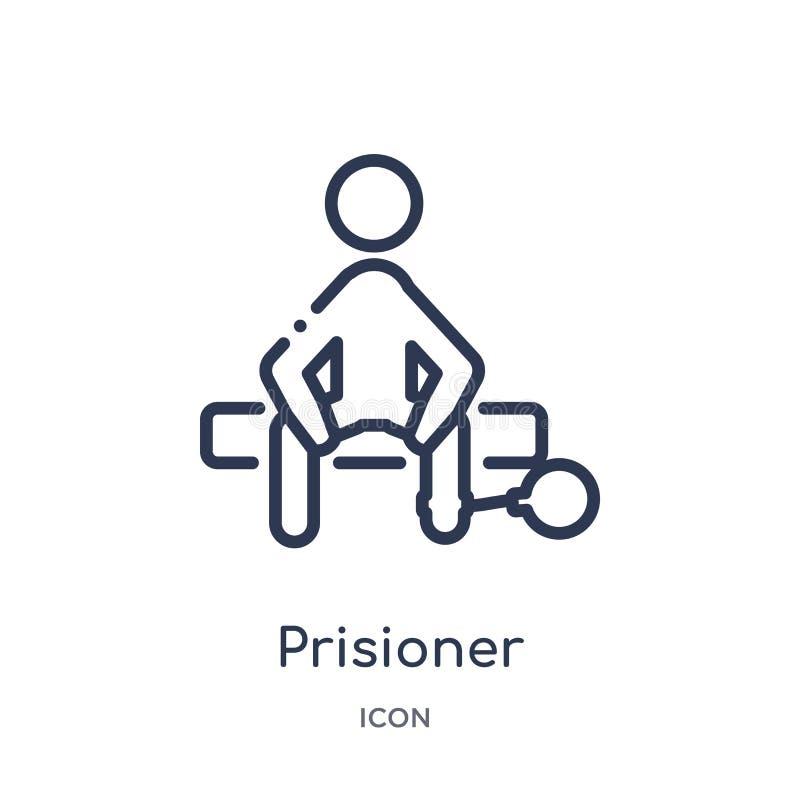 Icono linear del prisioner de la colección del esquema de la ley y de la justicia Línea fina icono del prisioner aislado en el fo stock de ilustración