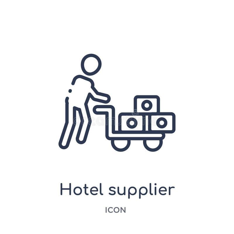 Icono linear del proveedor del hotel de la colección del esquema de los seres humanos Línea fina icono del proveedor del hotel ai ilustración del vector