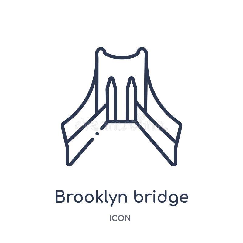 Icono linear del puente de Brooklyn de la colección del esquema de los edificios Línea fina vector del puente de Brooklyn aislado stock de ilustración