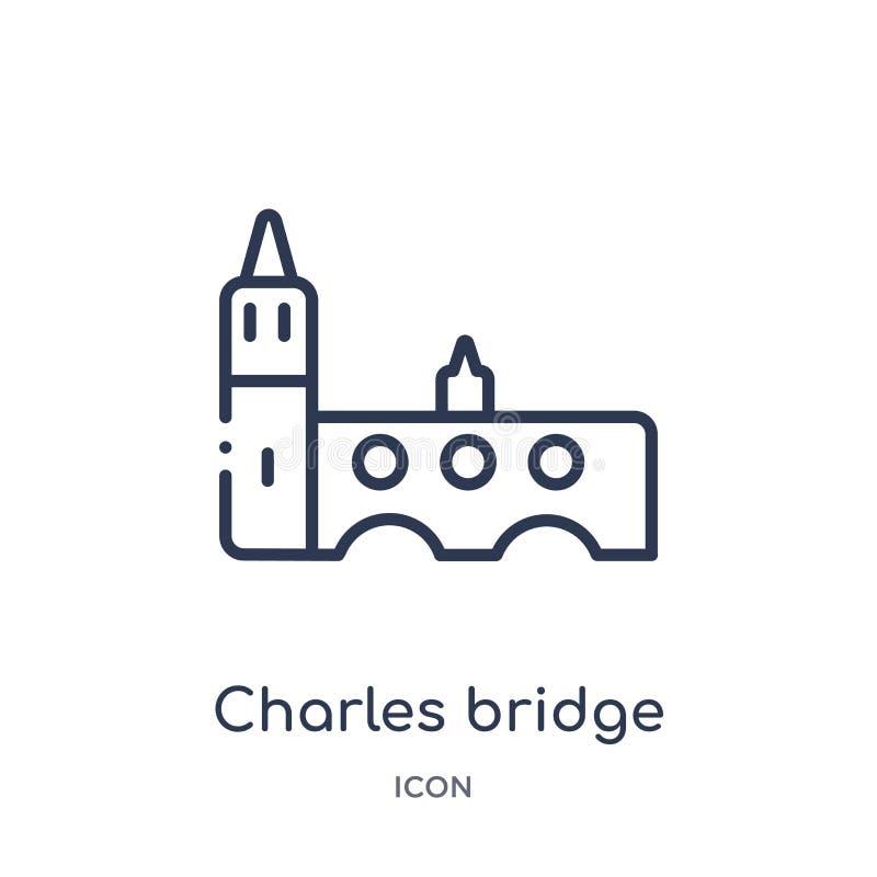 Icono linear del puente de Charles de la colección del esquema de los edificios Línea fina vector del puente de Charles aislado e libre illustration