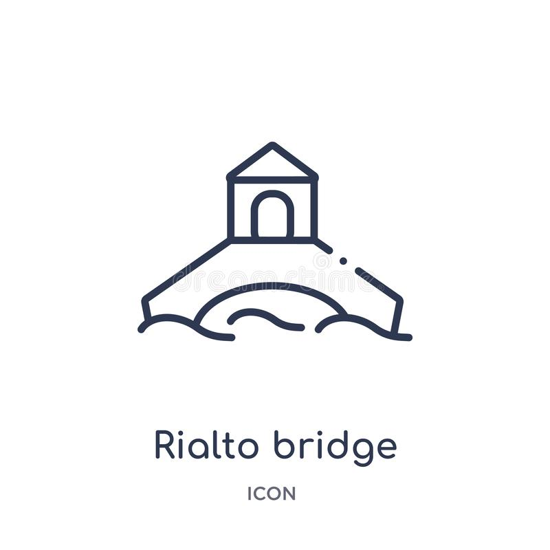 Icono linear del puente del rialto de la colección del esquema de los edificios Línea fina vector del puente del rialto aislado e stock de ilustración