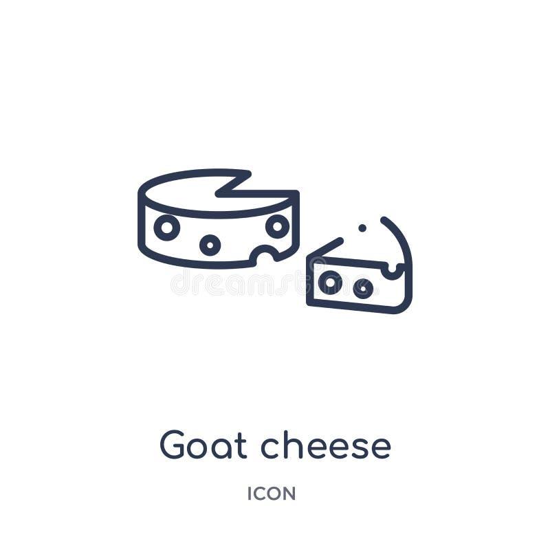 Icono linear del queso de cabra de la colección del esquema de la cultura Línea fina vector del queso de cabra aislado en el fond stock de ilustración