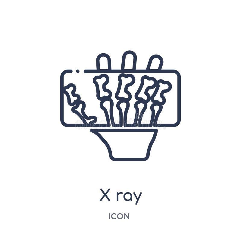 Icono linear del rayo de x de la colección médica del esquema Línea fina icono del rayo de x aislado en el fondo blanco ejemplo d stock de ilustración