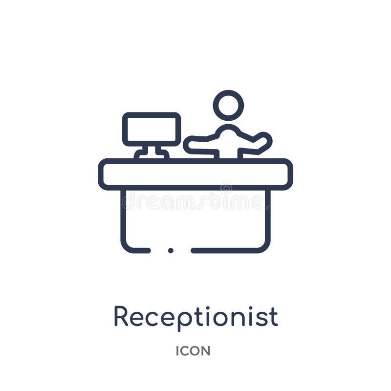 Icono linear del recepcionista de la colección del esquema del hotel y del restaurante Línea fina icono del recepcionista aislado ilustración del vector