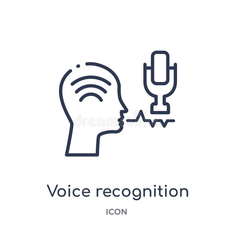 Icono linear del reconocimiento vocal del intellegence artificial y de la colección futura del esquema de la tecnología Línea fin stock de ilustración