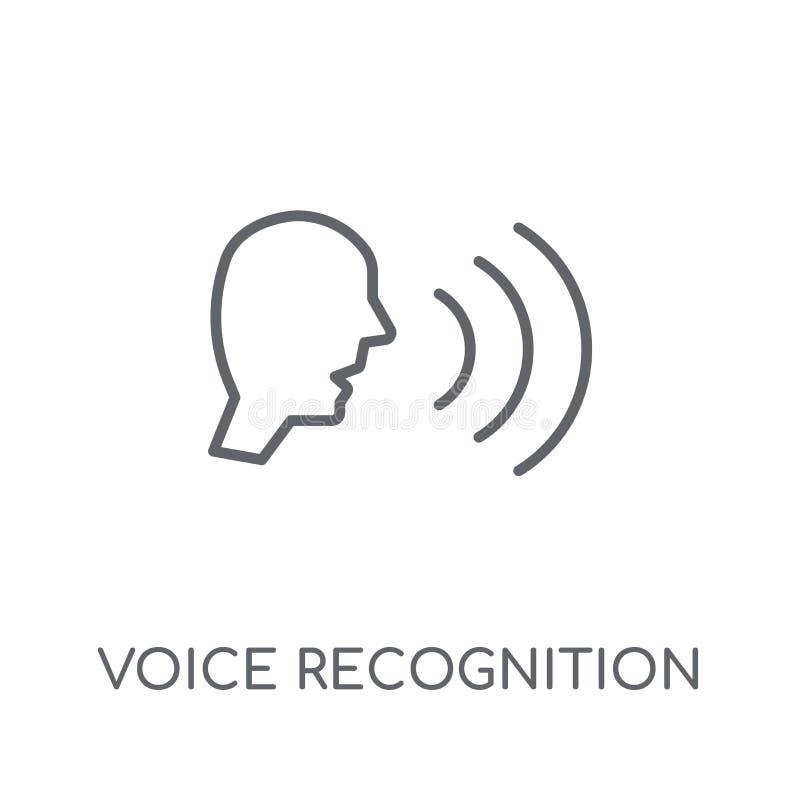 Icono linear del reconocimiento vocal Reconocimiento vocal moderno del esquema stock de ilustración