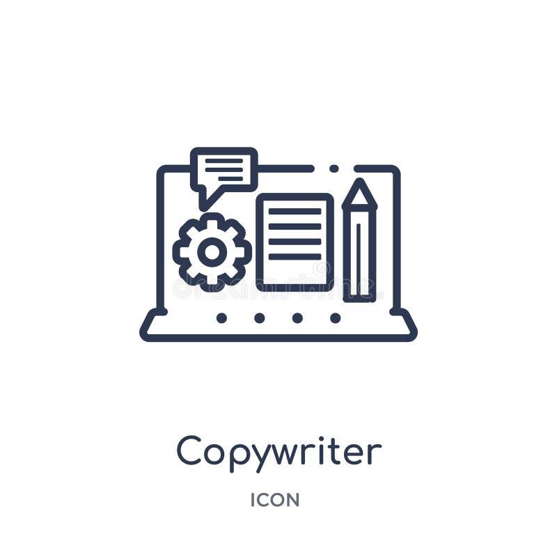 Icono linear del redactor de anuncios de la colección del esquema del Blogger y del influencer Línea fina vector del redactor de  ilustración del vector
