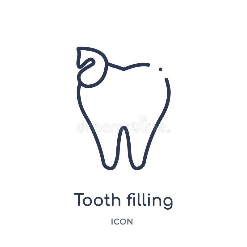Icono linear del relleno del diente de la colección del esquema del dentista Línea fina icono de relleno del diente aislado en el ilustración del vector