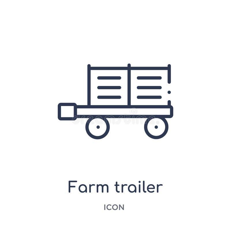 Icono linear del remolque de la granja de la colección agrícola y que cultiva un huerto de la agricultura del esquema Línea fina  stock de ilustración