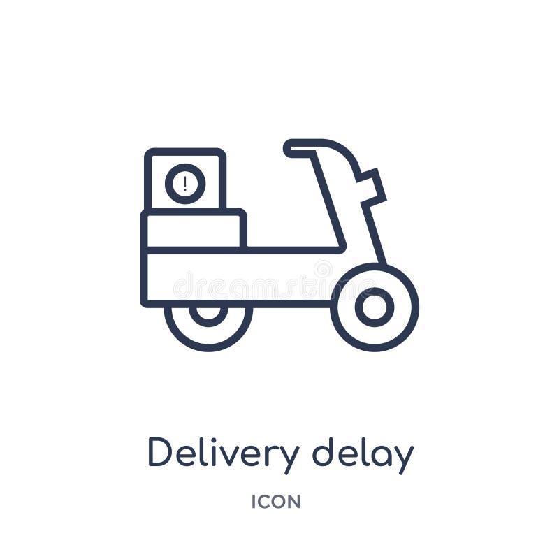 Icono linear del retraso de la entrega de la entrega y de la colección logística del esquema Línea fina vector del retraso de la  ilustración del vector
