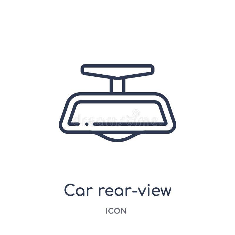Icono linear del retrovisor del coche de la colección del esquema de las piezas del coche Línea fina vector del retrovisor del co ilustración del vector