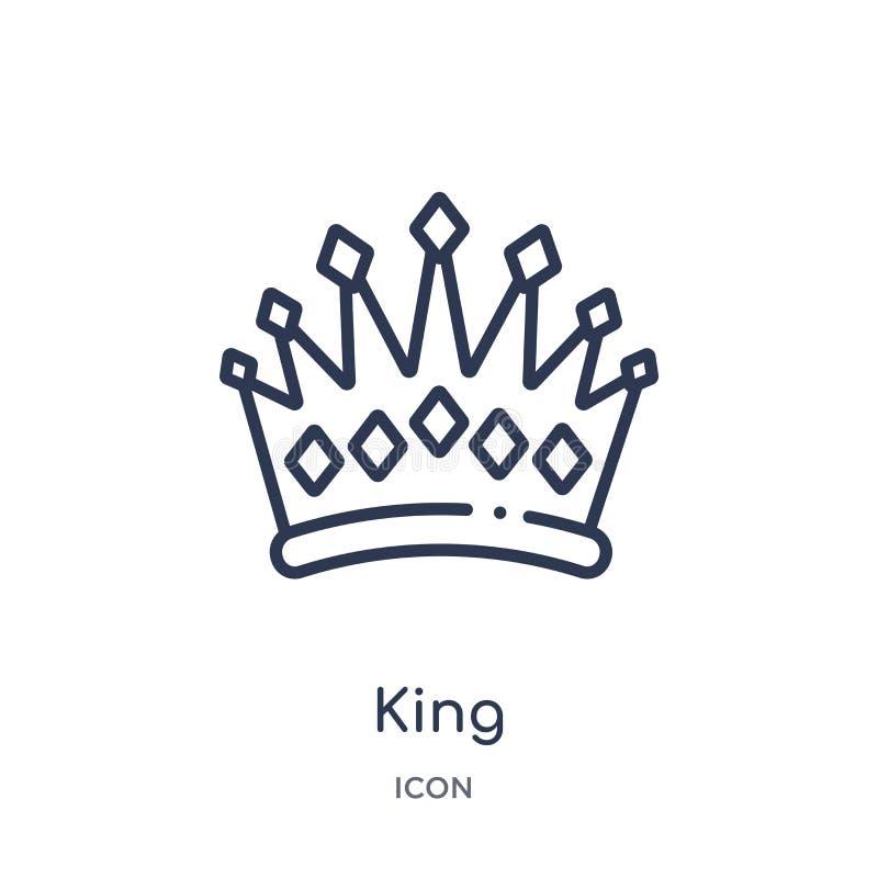 Icono linear del rey de la colección de lujo del esquema Línea fina icono del rey aislado en el fondo blanco ejemplo de moda del  ilustración del vector