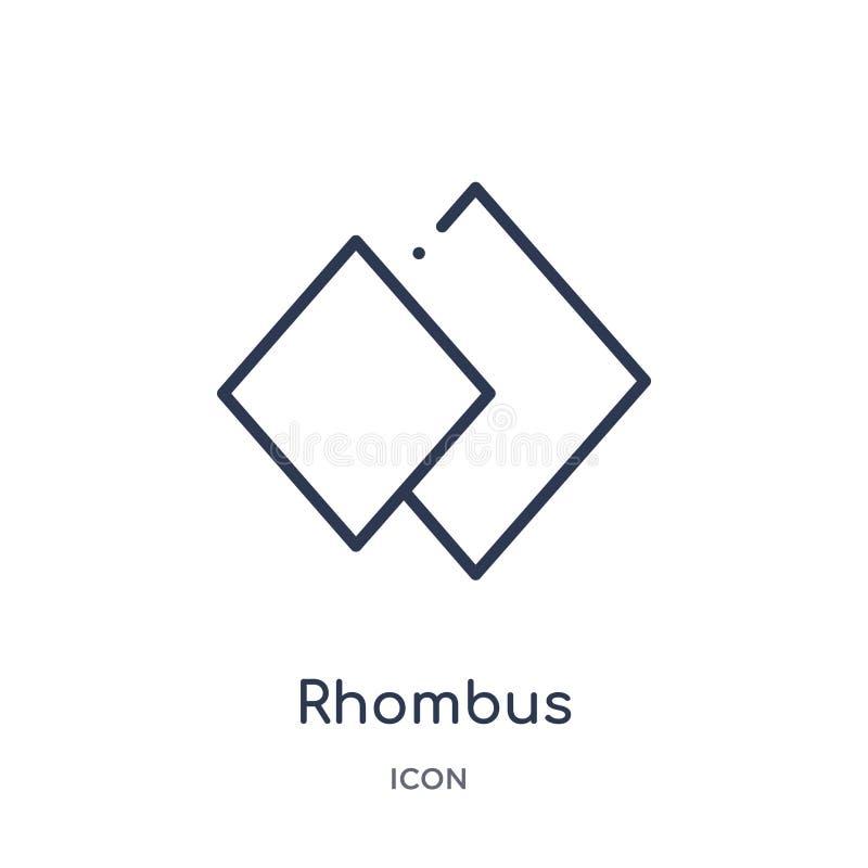 Icono linear del Rhombus de la colección del esquema de la geometría Línea fina icono del Rhombus aislado en el fondo blanco Rhom stock de ilustración