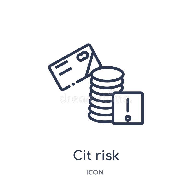 Icono linear del riesgo del CIT de la colección del esquema general Línea fina icono del riesgo del CIT aislado en el fondo blanc ilustración del vector