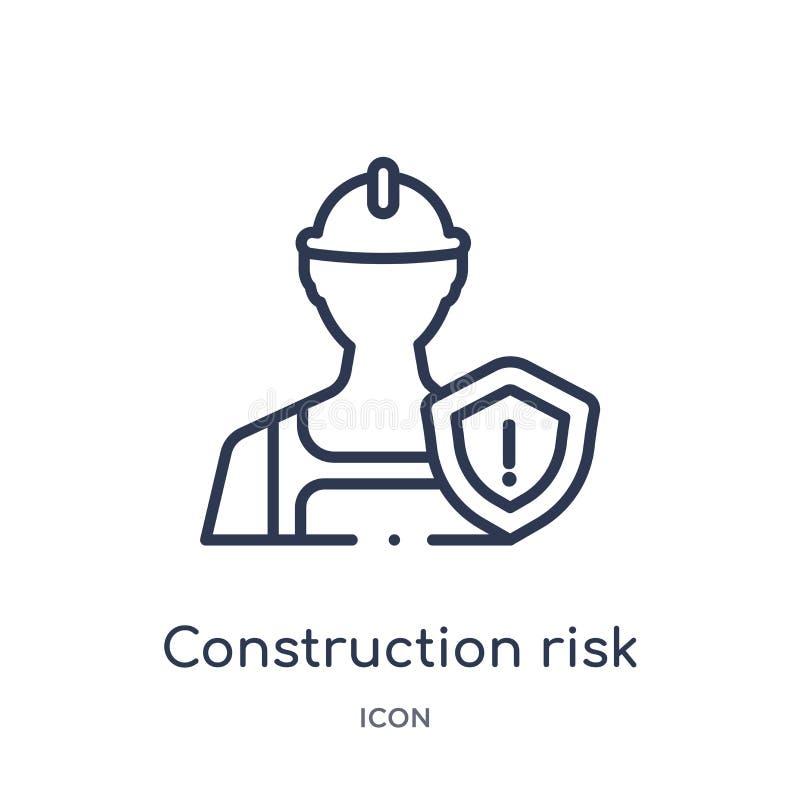 Icono linear del riesgo de la construcción de la colección del esquema del seguro Línea fina icono del riesgo de la construcción  stock de ilustración
