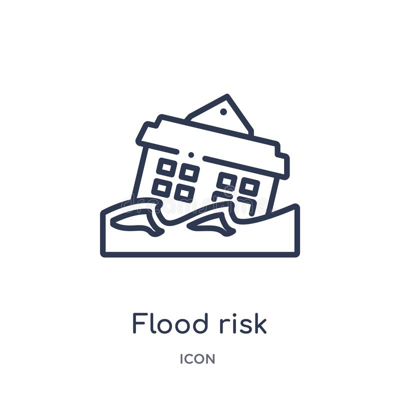 Icono linear del riesgo de la inundación de la colección del esquema del seguro Línea fina icono del riesgo de la inundación aisl stock de ilustración
