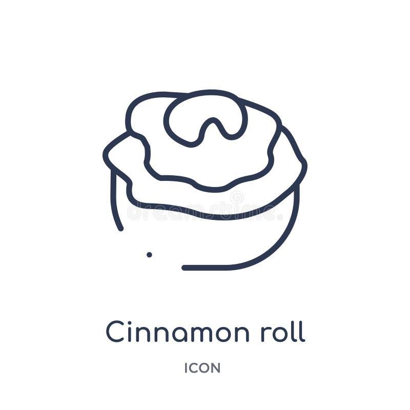 Icono linear del rollo de canela de la colección del esquema del hotel y del restaurante Línea fina icono del rollo de canela ais ilustración del vector