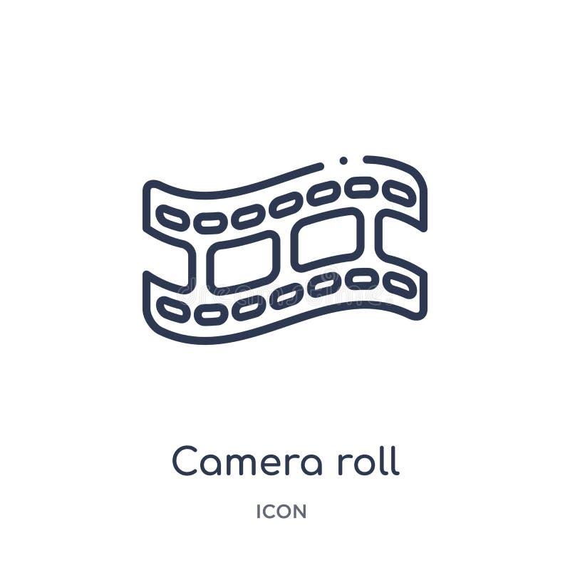 Icono linear del rollo de la cámara de la colección del esquema del cine Línea fina vector del rollo de la cámara aislado en el f stock de ilustración