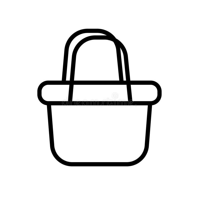 Icono linear del símbolo del ejemplo del vector de la cesta del negro de la cesta ilustración del vector