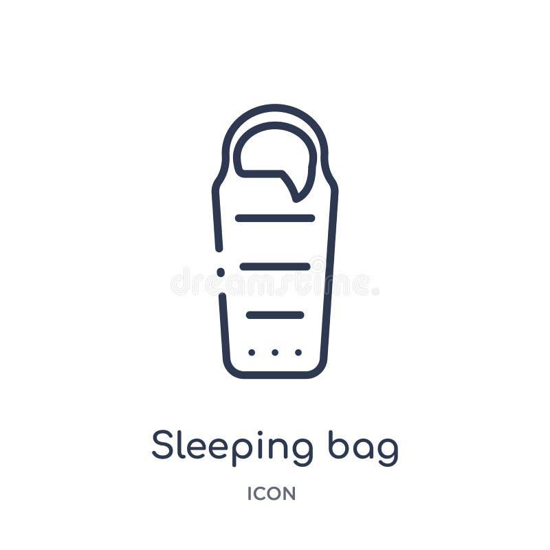 Icono linear del saco de dormir de la colección del esquema que acampa Línea fina vector del saco de dormir aislado en el fondo b ilustración del vector