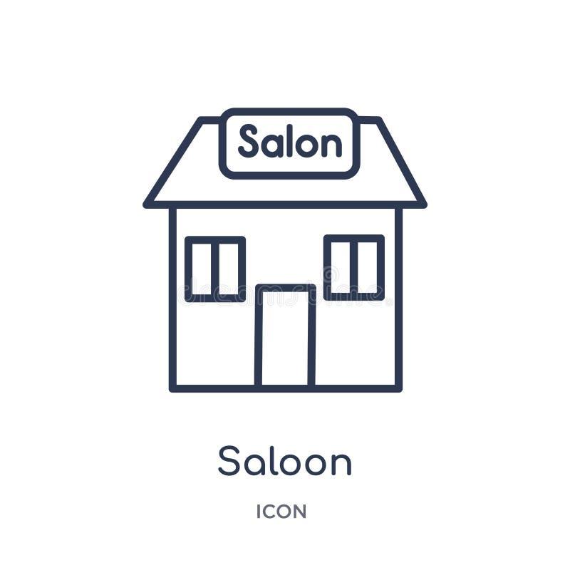 Icono linear del salón de la colección del esquema del desierto Línea fina vector del salón aislado en el fondo blanco salón de m libre illustration